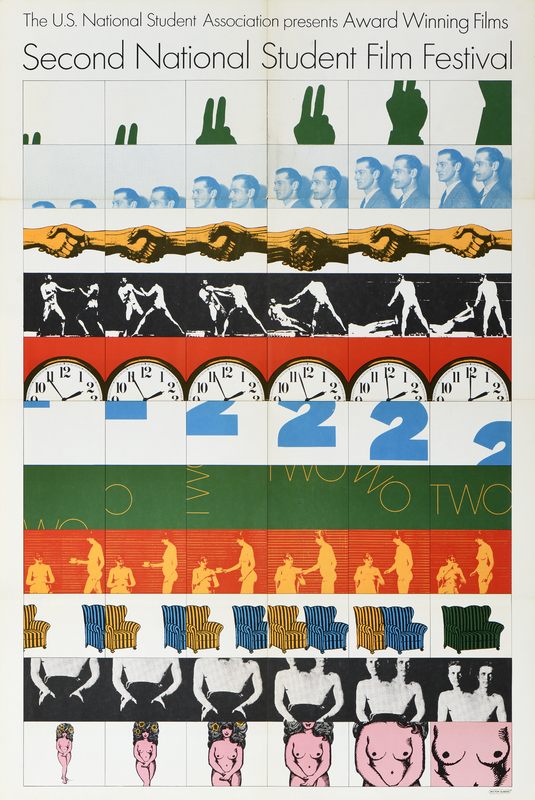illustrational poster of rows of film strips