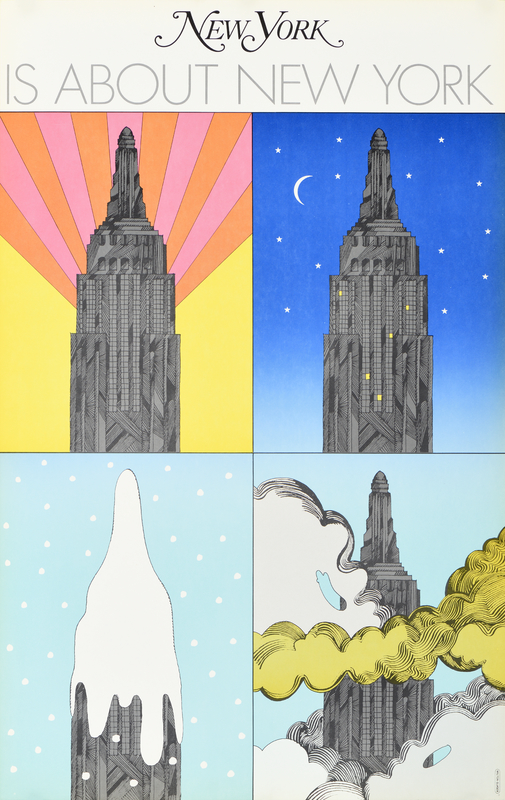 four illustrations of the empire state building in different seasons