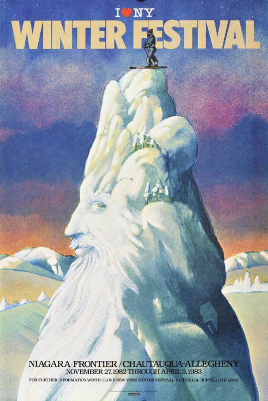 illustrational poster of a mountain covered in snow with a face