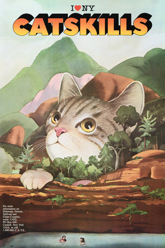 illustrational poster of a cat inside a mountain