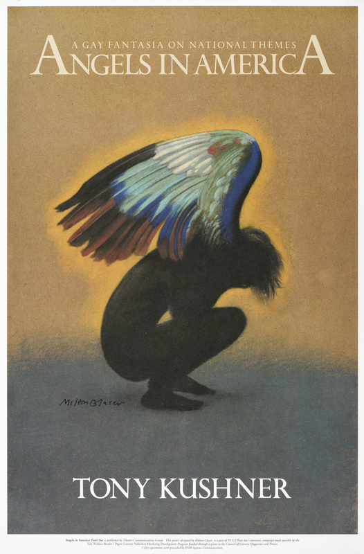 illustrational poster of an angel with rainbow wings crying