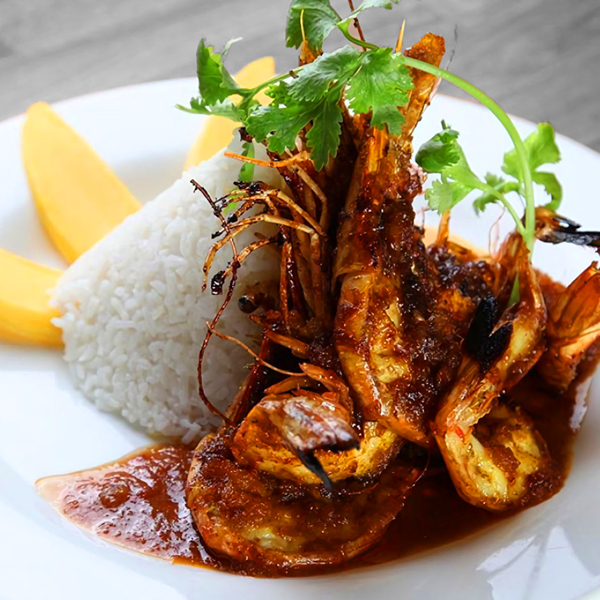 Shrimp, rice, cilantro and mango dish