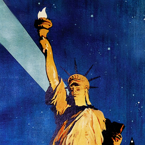 lithographic poster of the statue of liberty