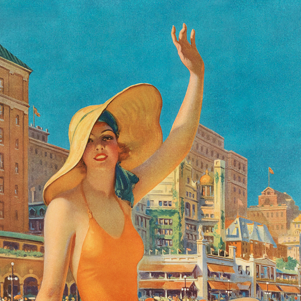 lithographic image of a woman in a bathing suit and hat waving at you
