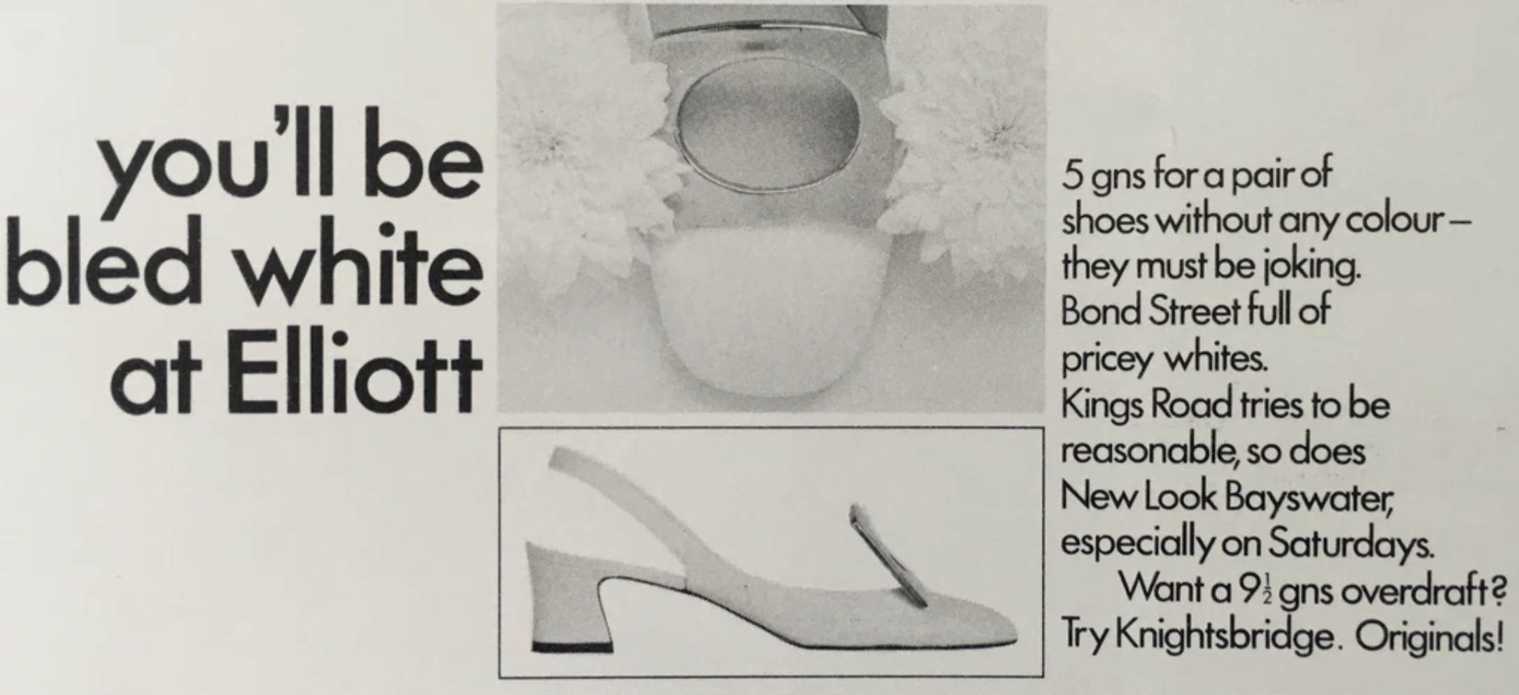 black and white shoe advertisement