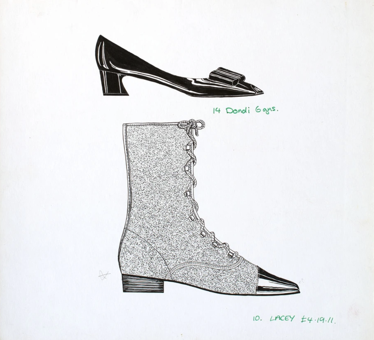 drawing of a boot and a kitten heel