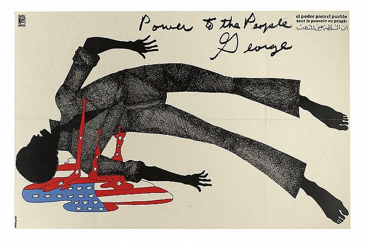 illustrational poster of a dead black man bleeding the american flag