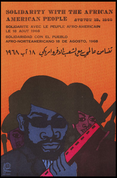 illustrational poster of armed black panthers on an orange background