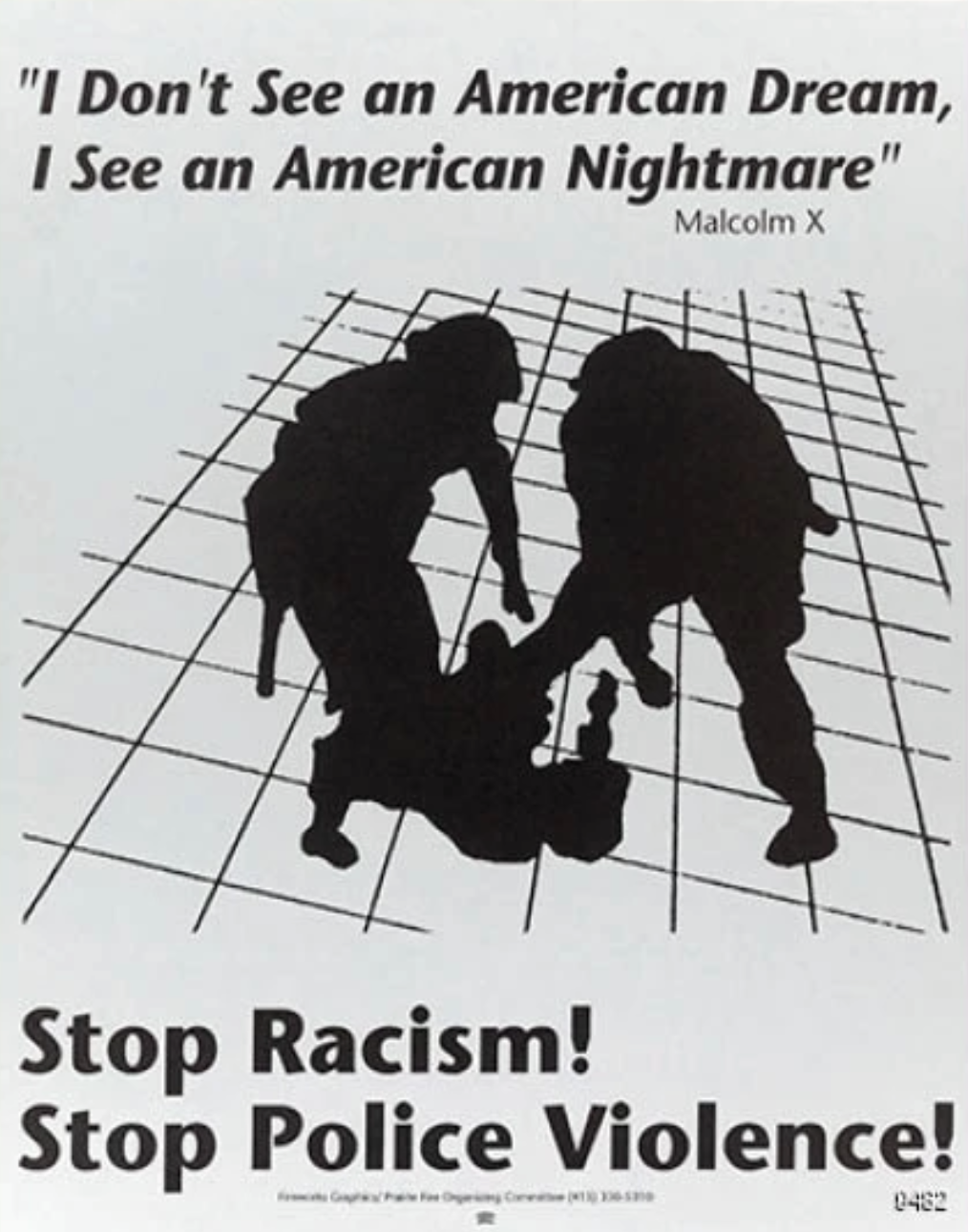 illustrational poster of silhouettes of a black man being beaten by police