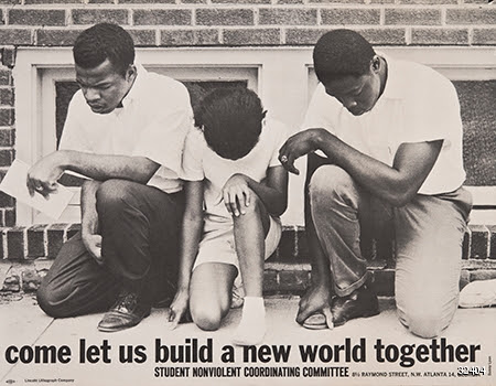 photographic poster of three african americans kneeling
