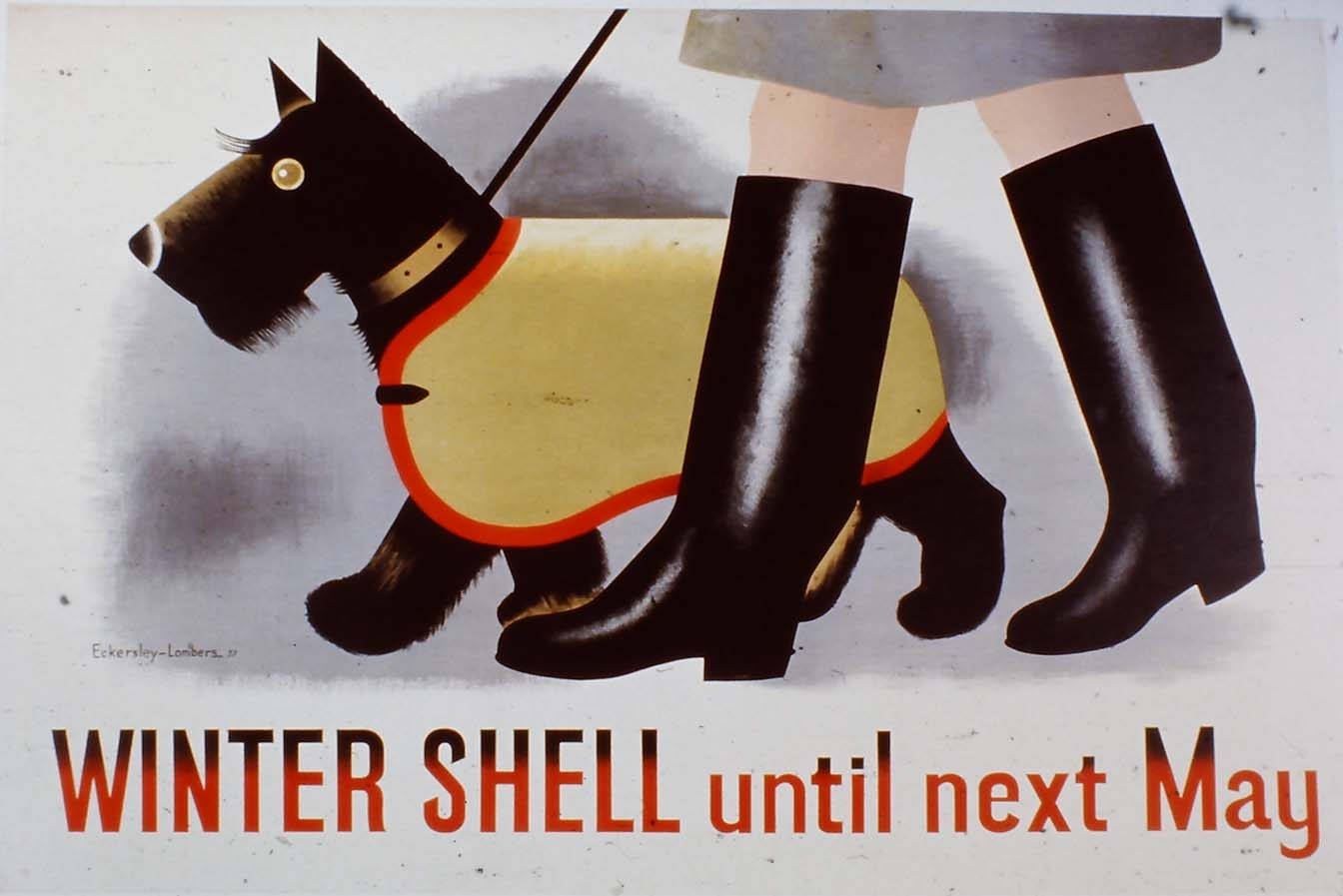 lithographic poster of a dog in a coat