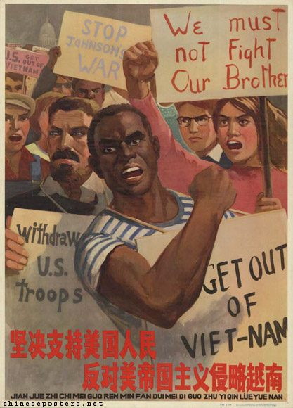 lithographic poster of a black man leading a protest