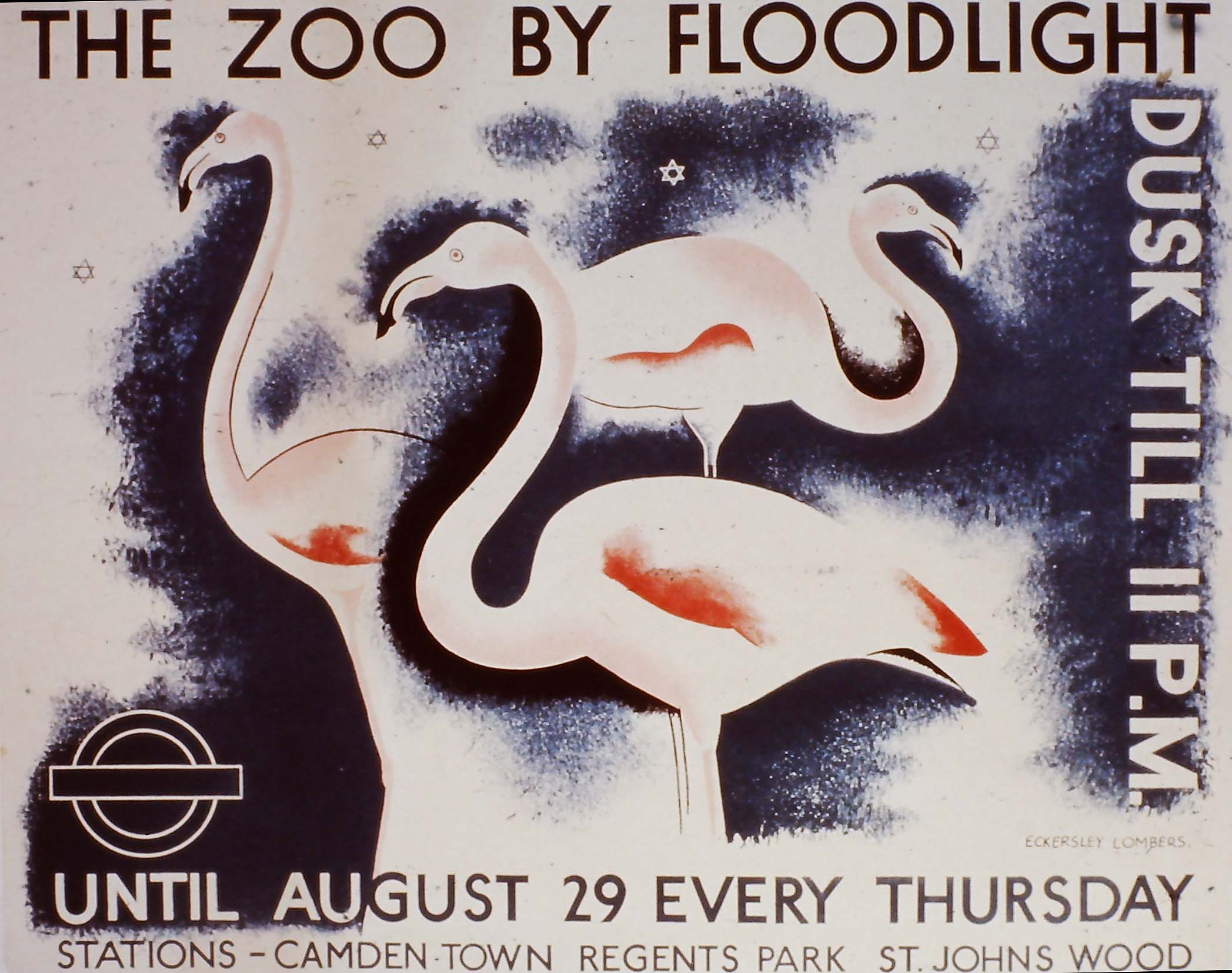 lithographic poster of flamingos