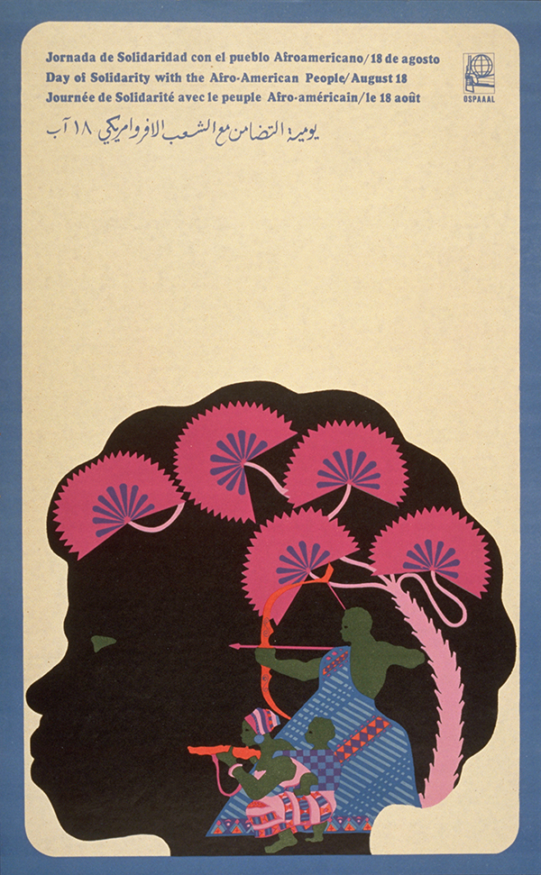 illustrational poster of a black woman in profile with pink flowers in her hair and armed warriors in her skull