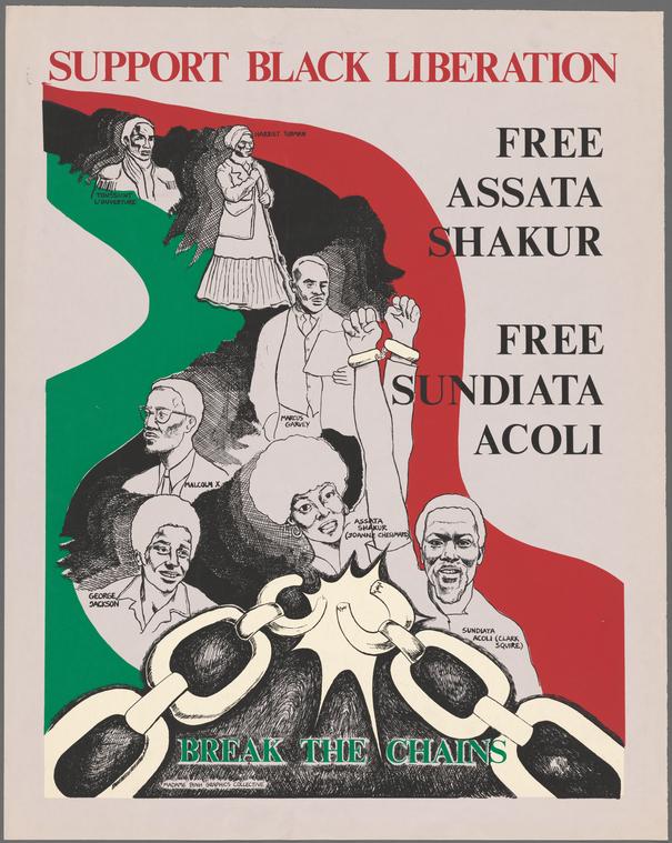 illustrational poster of historic black figures breaking bondage