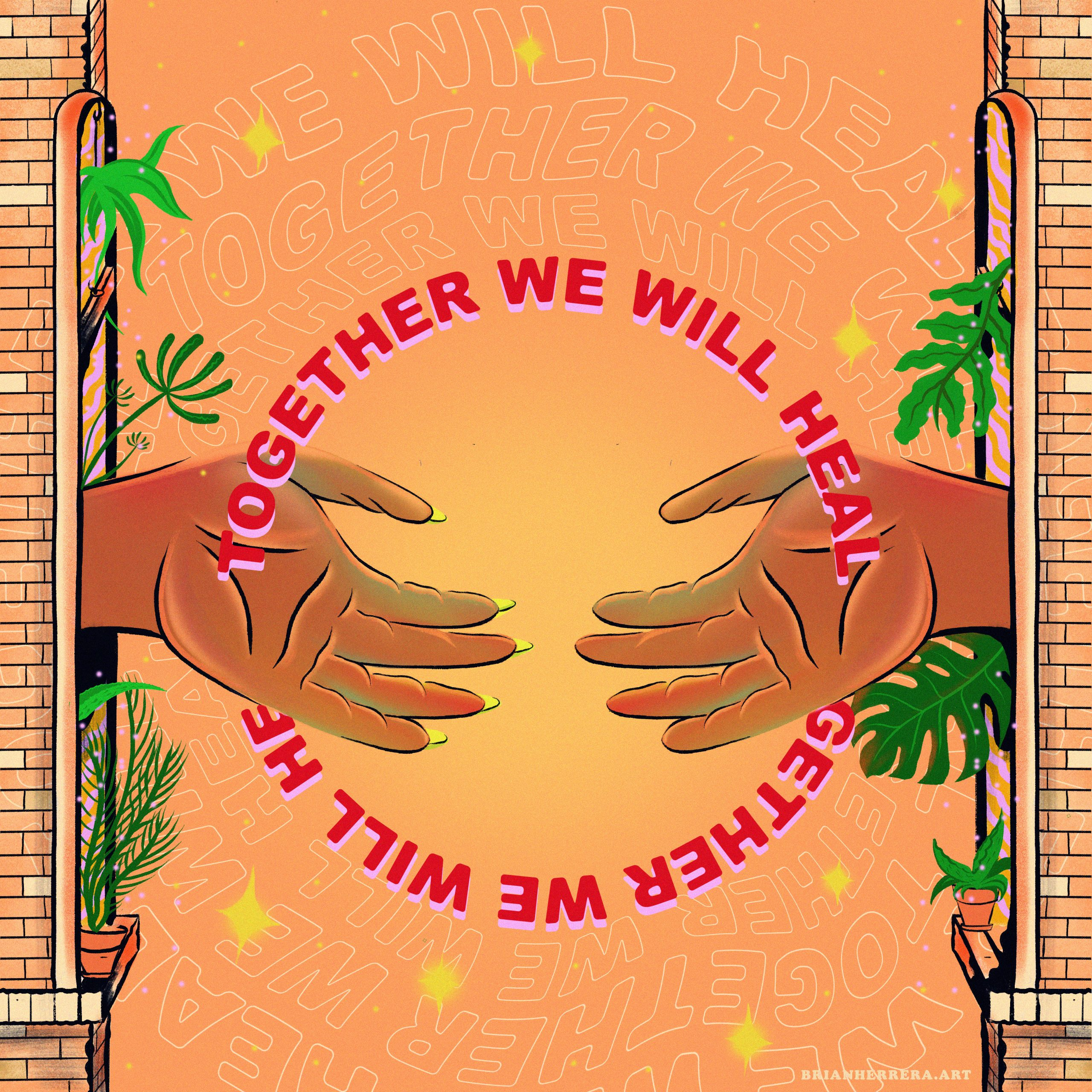 digital illustration of two tan hands on an orange background with the words together we will heal over them in a circle