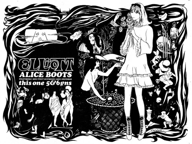 black and white poster of a mod woman surrounded by beardsley drawings