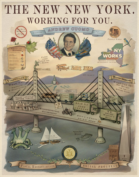 illustration of the tappan zee bridge with cuomo's head floating above, a yoghurt truck barreling across the bridge, and a sea monster in the hudson