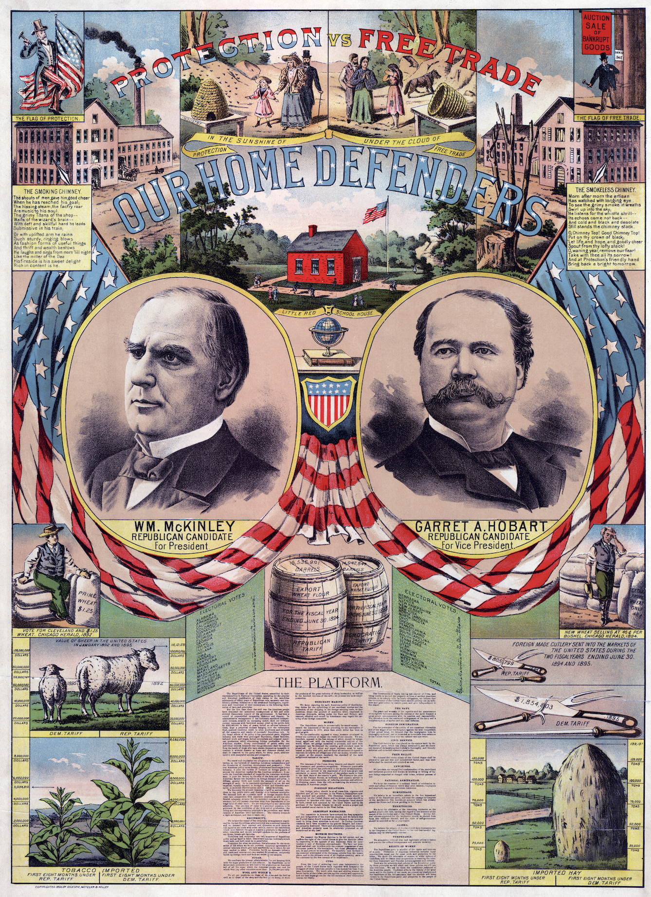 etched portraits of two men surrounded by an american flag bunting. lots of small print below and vignettes of their accomplishments
