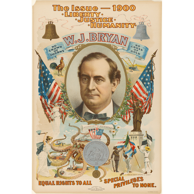 lithographic poster featuring a white man's head in a frame flanked by two american flags. below him various vignettes of goals and an octopus