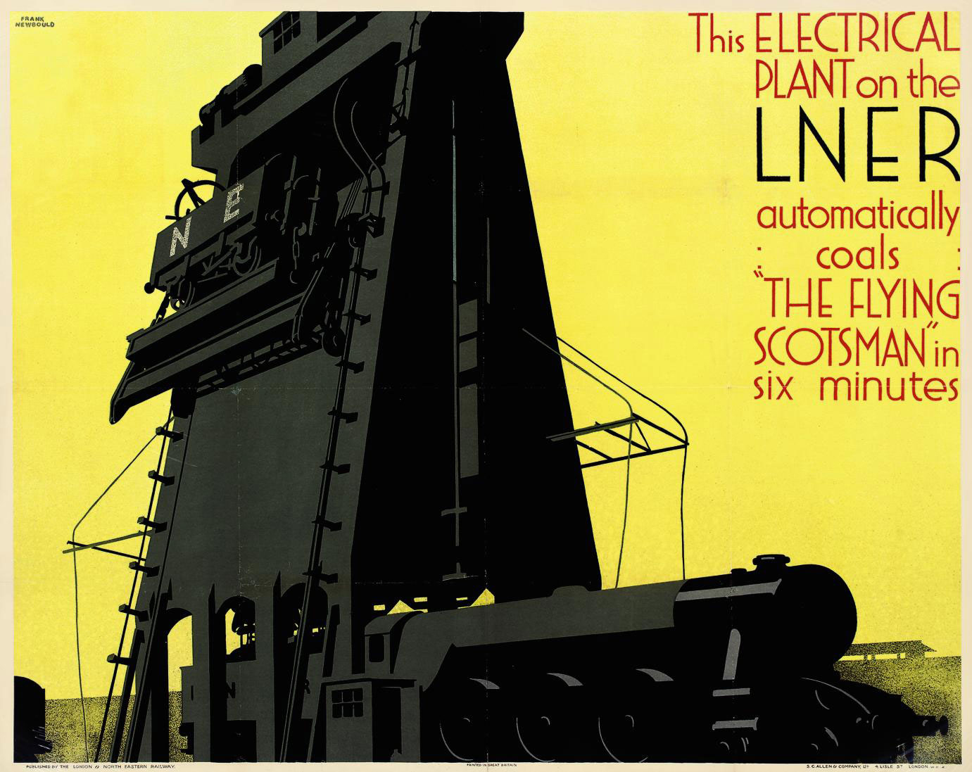 lithographic image of a huge electrical plant made of metal standing firmly against a yellow sky