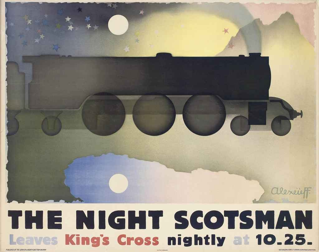 lithographic image of the silhouette of a train flying through the night sky surrounded by clouds. The night scotsman is written below