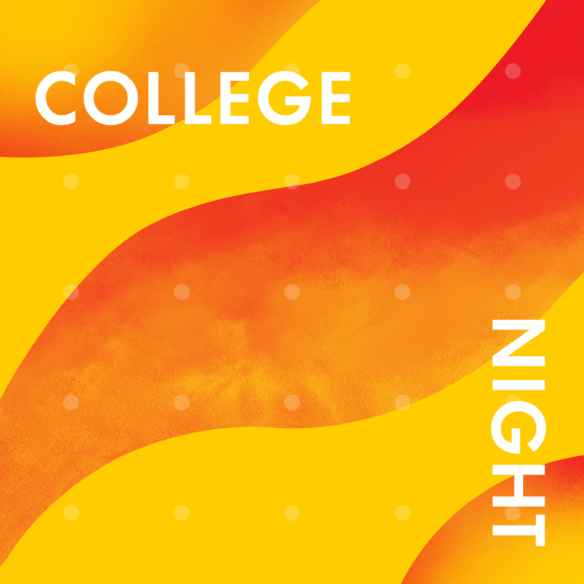 yellow and orange waves announcing college night in white text