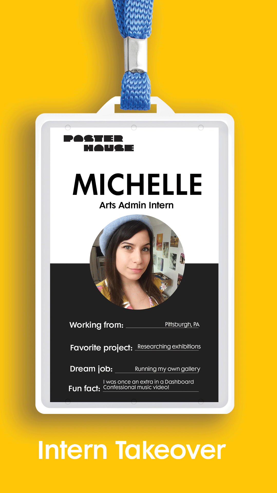 photograph of a nametag with the name michelle above a photo of a woman with brown hair