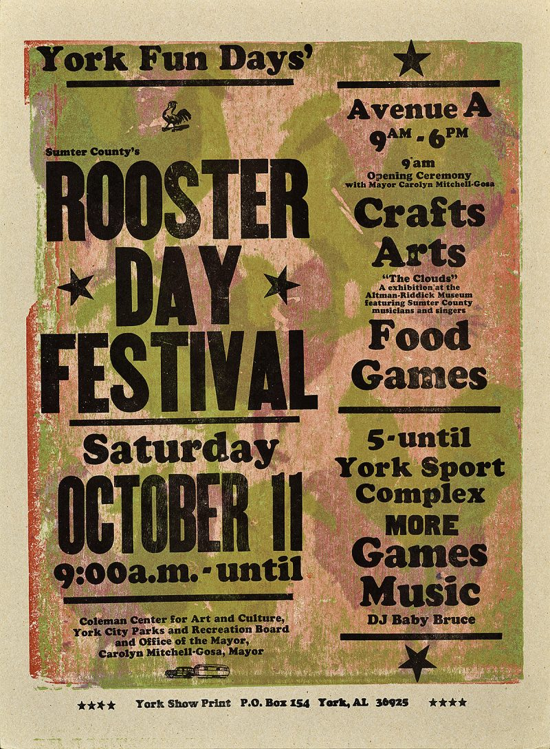 letterpress poster announcing the rooster day festival. Text is black over a pink and green rooster printed background