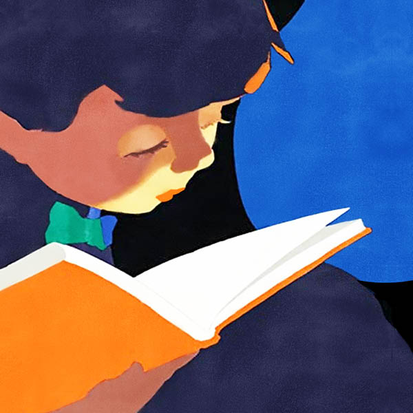A poster of a girl reading a book in the dark.