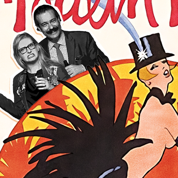 an image of lippert and lowery digitally collaged onto a poster featuring a showgirl