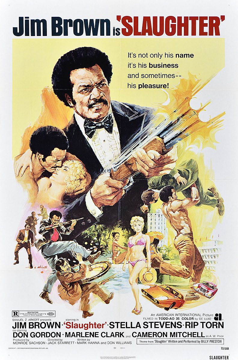 photo offset poster of a man in a tuxedo firing a double barrel gun. below him, vignettes of sexy women and fights fill the page