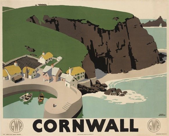 lithographic image from a high vantage point of a cliffside beach town labeled Cornwall