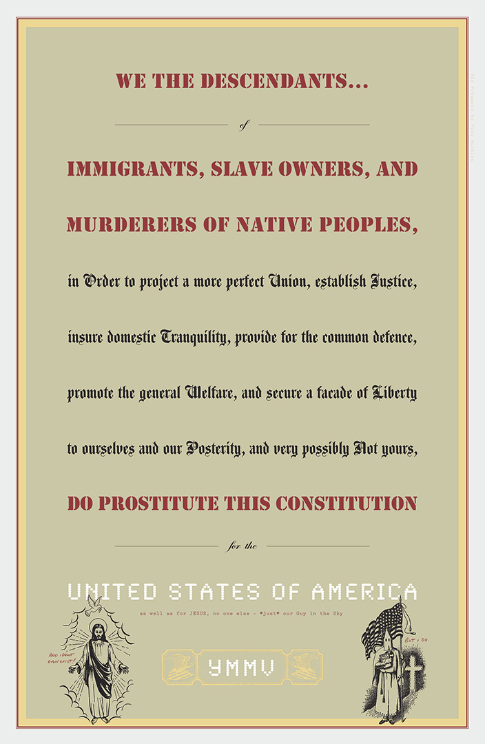 digital image of the preamble of the constitution on a grey brown background