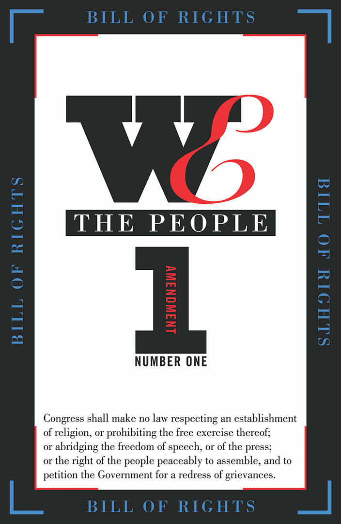 digital text based image saying we the people in black on a white background with the first amendment to the constitution