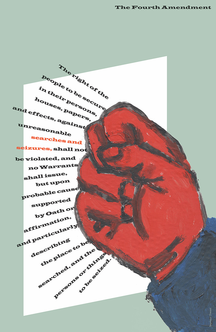 illustrational poster of a red hand knocking on a door