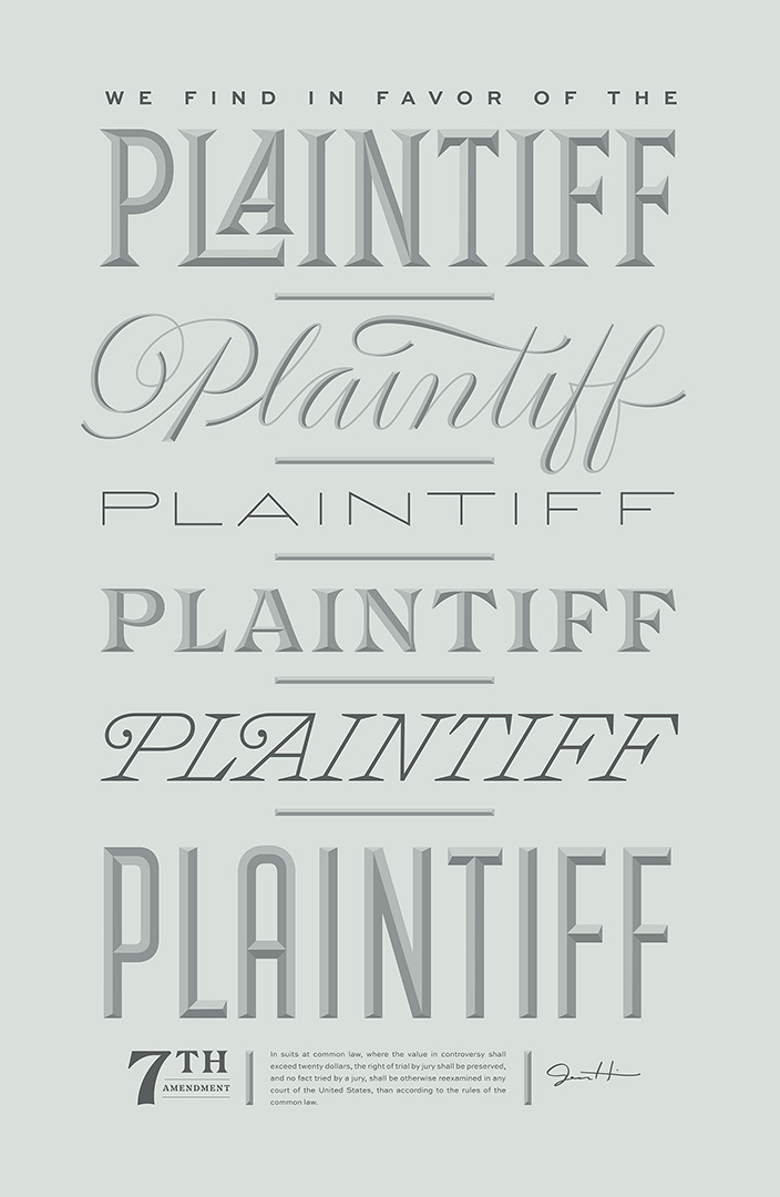 type based design in pale blue saying the word plaintiff in different fonts