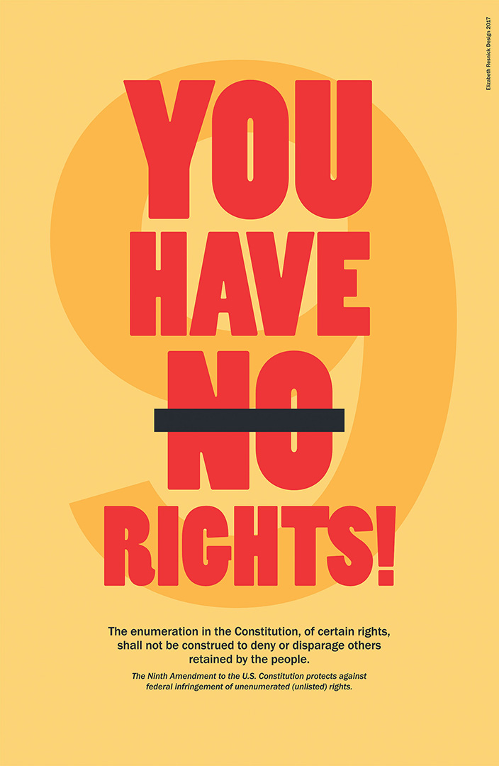 red text image on a yellow background that says you have no rights with no crossed out