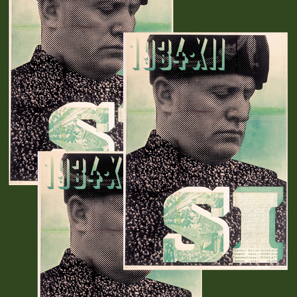 3 exact same posters layered on top of each other. Thee color palate is green. a man is looking down, and the copy reads 1934xii SI