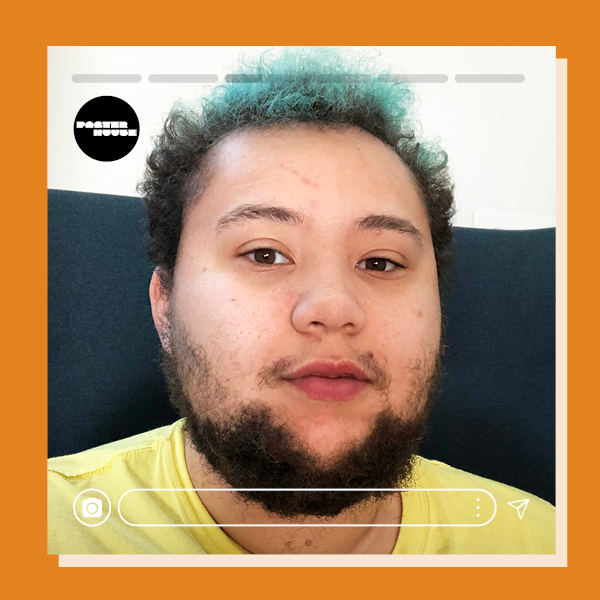 Headshot of the artist with an orange frame and faux instagram tools