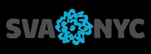 SVA logo reads SVA a blue flower sketch followed by NYC