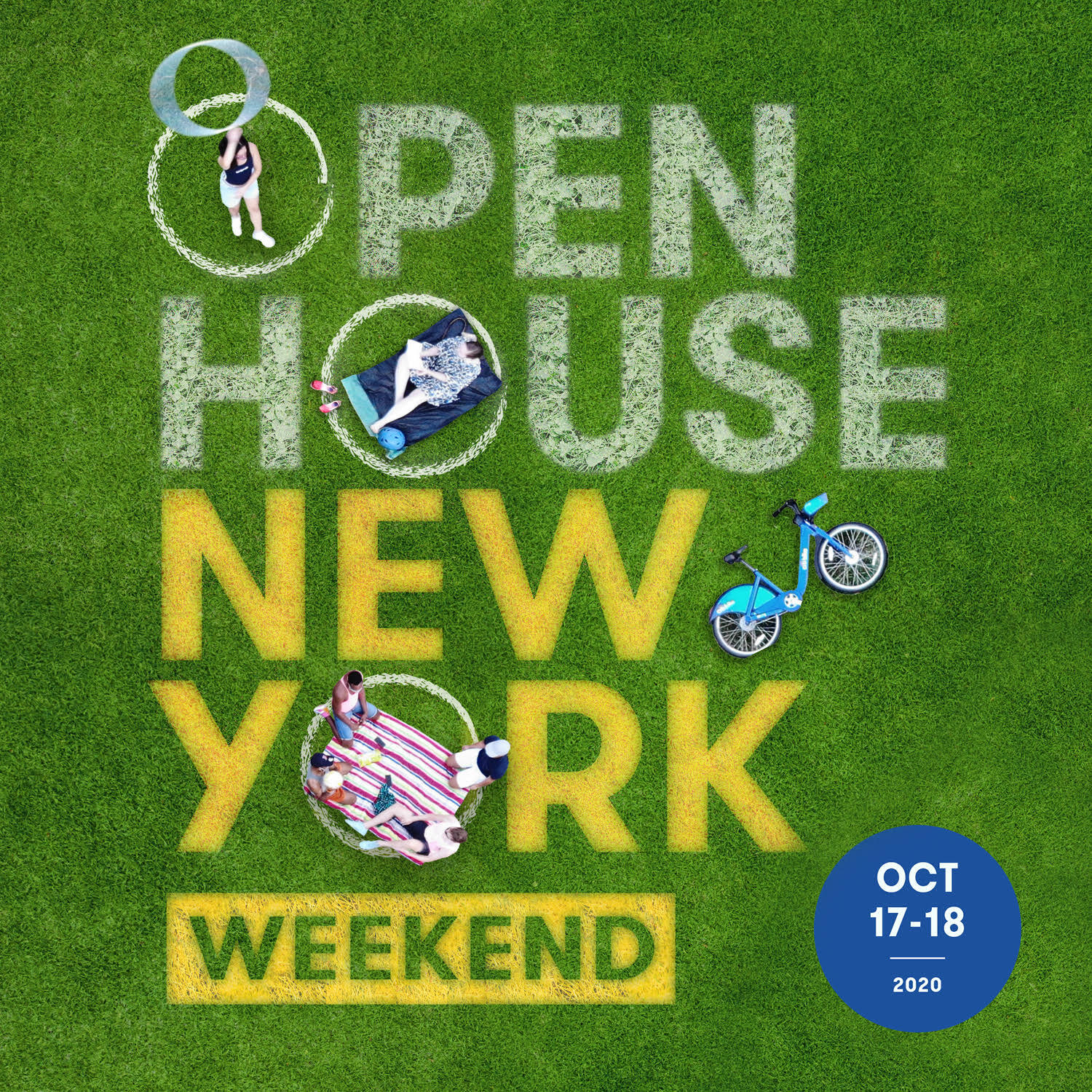 photo of grass with open house new york written over it
