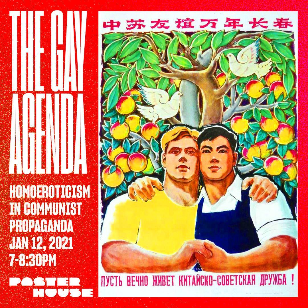 a poster featuring a Russian and a Chinese man holding hands in front of a fruit tree. Bordered in red with event text on the left.