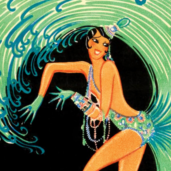a cropped image of an illustrated poster featuring a Black showgirl in a green showgirl-style dress.