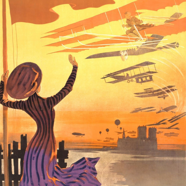 lithographic poster of a woman in a long dress waiving at various airplanes in the sunset
