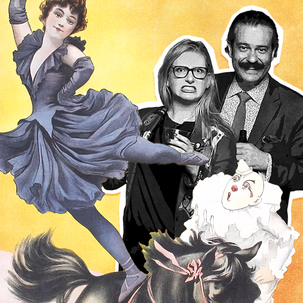 a digital collage featuring a black and white photo of Angelina Lippert and Nico Lowry with illustrated elements from posters of a clown, horse, and dancing woman.