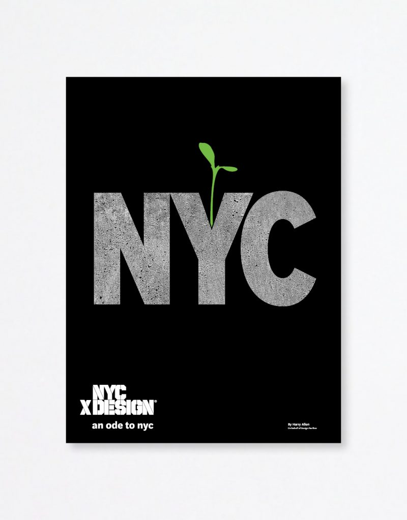 A poster showing a large text saying NYC in a black background. a little green sprout coming out from alphabet Y.