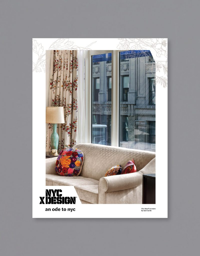 a poster showing a photo of New York apartment. There is a white couch, 3 colorful cushions, classic side lamp, and flower pattern curtain. The other side of building is visible through the big window.