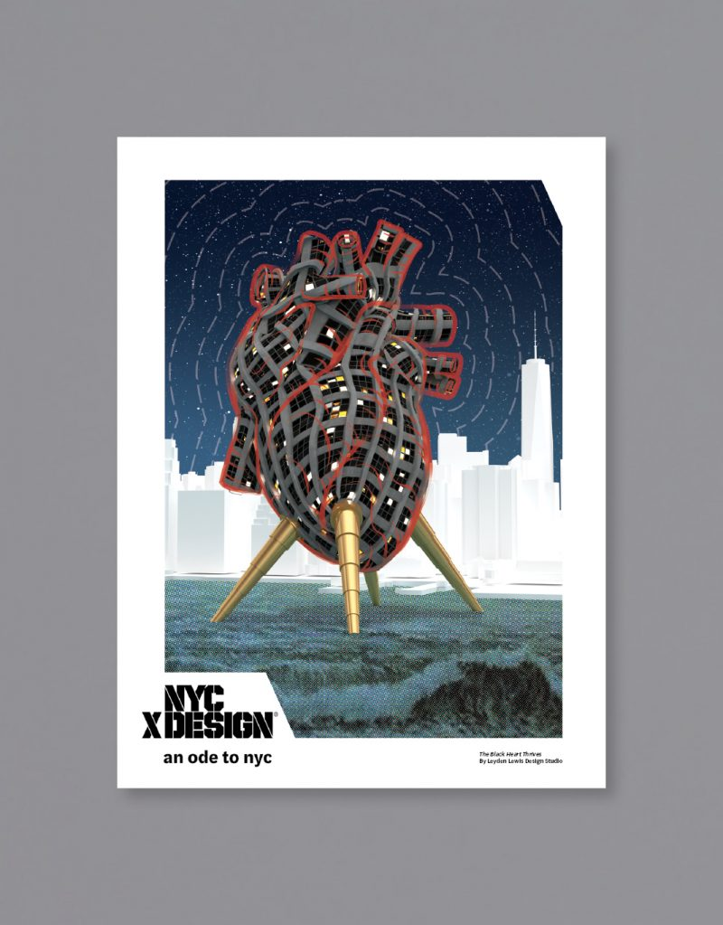 A poster showing the illustration of the building shaped realistic human heart. There are New York city in the background.
