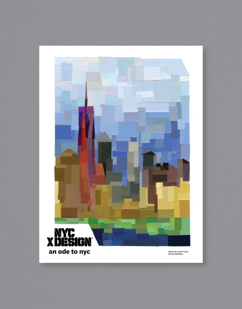 A poster of New York City, around The World Trade Center drawn in impressionism style.